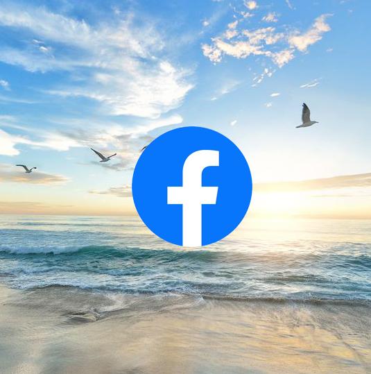 Ocean scene with Facebook logo